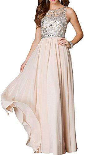 ivyd ressing Femme Elegant pierres col rond a ligne fixe robe Prom robe robe du soir Beige - Champagne