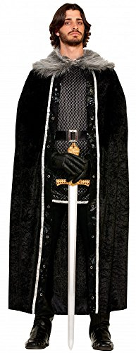 it Pelzkragen für Herren Kostüm Ritter GoT WoW HdR LARP Mantel Cape, Farbe:Schwarz (World Of Warcraft Kostüme)