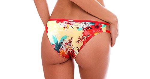 RELLECIGA Donna Slip Swimwear Bottom Bikini Criss Cross Stripes giallo floral