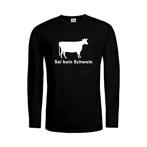 Langarm T-Shirt Sei Kein Schwein Kuh Style 20drpt15-mtls00263-2 Textil Black/Motiv Weiss Gr. M (2 Mann Kuh Kostüm)
