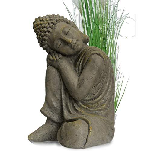 Garten Buddha in klasse Messingoptik aus Stein