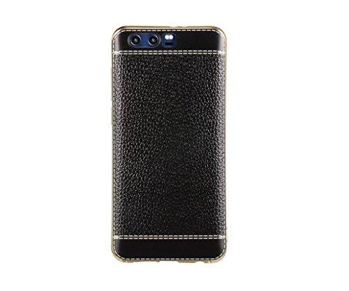 EMIRROW Huawei Honor 9 Custodia, Cover Morbida TPU Silicone Pelle Goffrato --- Placcatura Telaio Protezione Case (Nero)