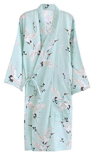 ECHERY Damen Mädchen Sommer-Kimono Aus Baumwolle Roben Floral Pyjamas Nachtwäsche Khan Gedämpft Yukata-Bademantel Grün (Pyjama Floral Baumwolle)