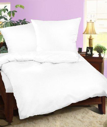 Seersucker Bettwäsche Set Neve Weiß Uni 135×200 cm Größe 135 x 200 cm Baumwolle 100%