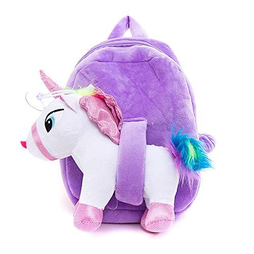 Zaino Unicorno Bambina. Borsa per la Scuola a Forma di Unicorni per Bambine, Zainetto Simpatica e graziosa Regalo, Rosa Viola Morbida per Ragazza di 2 - 12 Anni, Mini Unicorn Bag Bambino Tracolla
