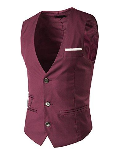 Leisure Herren V-Ausschnitt Ärmellose Westen Slim Fit Jacke Lässige Weste Anzug Business Anzugweste - Rot , Gr.L (Baumwolle Drei-knopf-blazer Mit)