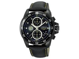 J. Springs Sports Chronograph - Reloj de cuarzo para hombre, con correa de cuero, color negro de J. Springs