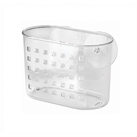 InterDesign Bathroom Shower Suction Shampoo Conditioner Orhanizer Basket, Clear