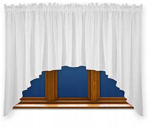 FKL Schöne Fertiggardine Fenstergardine Gardine aus Voile mit Faltenband Kräuselband Store Bogen Kurz Modern Weiß 150x400 cm LB-163