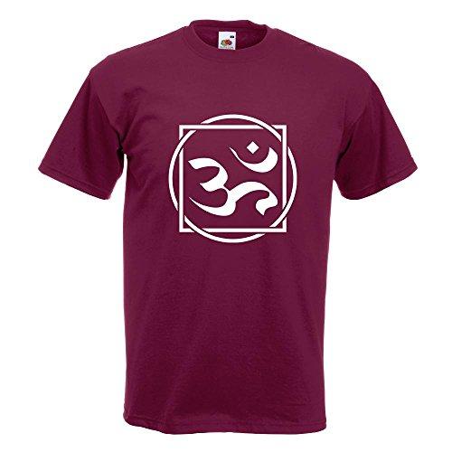 KIWISTAR - Om Zeichen T-Shirt in 15 verschiedenen Farben - Herren Funshirt bedruckt Design Sprüche Spruch Motive Oberteil Baumwolle Print Größe S M L XL XXL Burgund