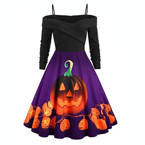 Vectry Damen Kleider, Halloween Kostüme Mode Cosplay Kostüm Langarm Abendkleider Cocktailkleid 1950er Rockabilly Kleid Karneval Partykleider Businesskleider Freizeitkleider T-Lila 4XL