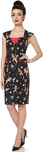 Voodoo Vixen Damen Kleid Space Print Pencil Dress Schwarz ()