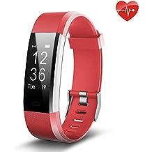 Juboury ID115P red de, Fitness Tracker,Juboury Smart Bracelet mit Pulsmesser Herzfrequenzmesser,Aktivitätstracker,Schrittzähler,SchlafMonitor,Kalorienzähler Fitness Uhr für Android und IOS Smartphones(Rot)