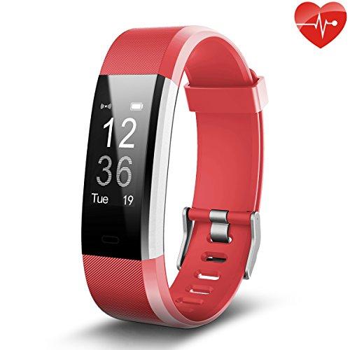 Fitness Tracker,Juboury Smart Bracelet mit Pulsmesser Herzfrequenzmesser,Aktivitätstracker,Schrittzähler,SchlafMonitor,Treppen Zähler,Kalorienzähler Fitness Uhr für Android und IOS Smartphones(Rot)