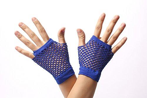 DRESS ME UP - RH-005-blue Handschuhe Netzhandschuhe Blau fingerlos fingerfrei Netz kurz 80er Punk Rocker Wave Gothic Emo