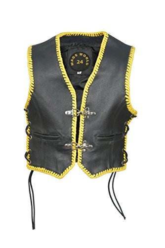 MAGS World24 Kinder Lederweste, Bikerweste,Motorradweste, Lederkutte,Clubweste in schwarz mit gelbe Leder Kordel