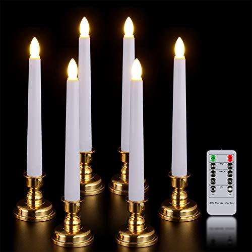 PChero 6pcs Luces Vela Temporizador Cónico LED Batería