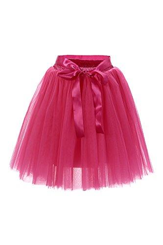 e 1950er Rockabilly Petticoat Mini Tutu Kleid Retro Tüll Unterrock Reifrock, Fuchsia, One size (1950 Tanz Kostüm)