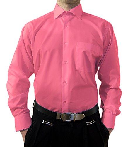 Preisvergleich Produktbild Designer Herren Hemd Pink Bügelfrei klassischer Kragen Herrenhemd Kentkragen Langarm Größe L 42