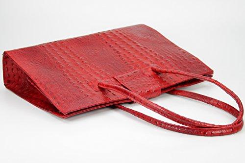 "BELLI ""Design Bag C"" ital. Ledertasche   Businesstasche   Jobbag - große Farbauswahl - 40x30x12 cm (B x H x T) Rot kroko"