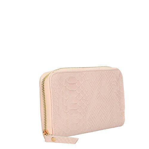 Portafoglio da Donna in Vera Pelle Made in Italy Stampa Pitonata Chicca Borse 20x11x3 Cm Rosa