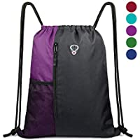 Drawstring Bag Backpack String Swim PE Bag Large Drawstring Sports Gym Bag for Women Mens with Zipper and Mesh Pockets, Travel Beach Bag Pack for Teens Unisex