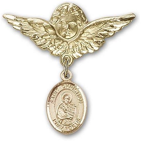 Icecarats Oro Gioielli Di Design Riempito St. Demostene Christian Fascino Angelo Pin Distintivo 1 1/8 X 1 1/8