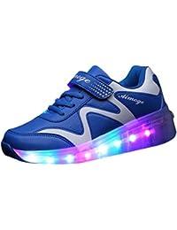 QIMAOO Enfants Baskets LED Chaussures patiner de Sport enfants Unisexe Chaussures à Roulettes Sneakers Lumineuses Clignotante