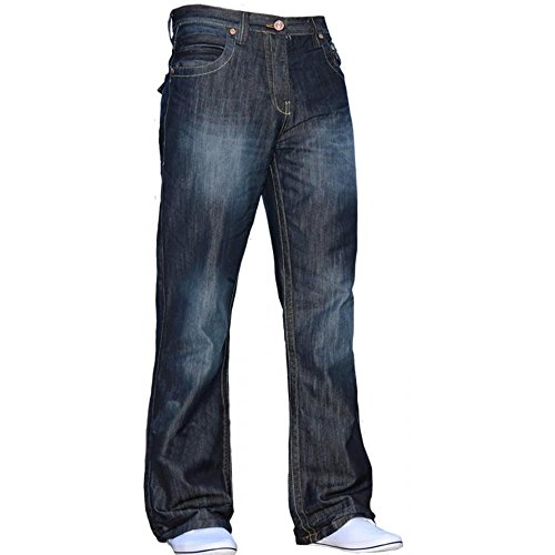Button-fly Flap Pocket Jeans (Enzo Mens Bootcut Jeans Dunkel Verwendet Look Jeans W30 - L32)