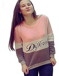 FEITONG de las mujeres letras impresas La camiseta de manga larga Camisa de algodón remata la blusa