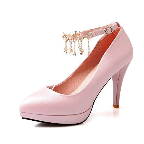 AllhqFashion Femme Fermeture D'Orteil Pointu Stylet Matière Souple Couleur Unie Boucle Chaussures Légeres Rose