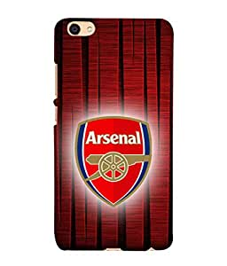 Vivo Y55L Arsenal Football Team Logo Printed Back Cover Hybrid Strong Polycarbonate Hard Case Cover With Premium Quality and Matte Finish by Red Eye
