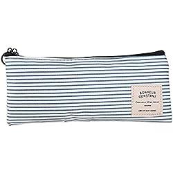 Aikesi Bolso simple de pluma lona de raya horizontal del caso lápiz Bolso del maquillaje con dos botones 1pcs (Azul claro)