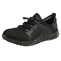 Men Mesh Breathable Sneakers Non-slip, Male Safety Steel Toe Cap Work Hiking Boots Shoes Running Sport Shoe
