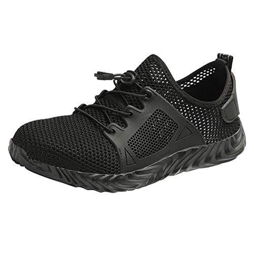 Lilicat Scarpe Antinfortunistica Uomo Donna Estive Scarpe da Lavoro con Punta in Acciaio Comode Sneaker Traspiranti Scarpe da Corsa(Nero-B,47 EU)