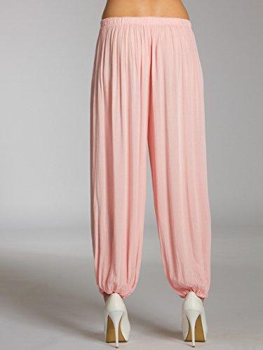 CASPAR KHS036 Pantalon dété pour femme léger semi transparent en coton Rose