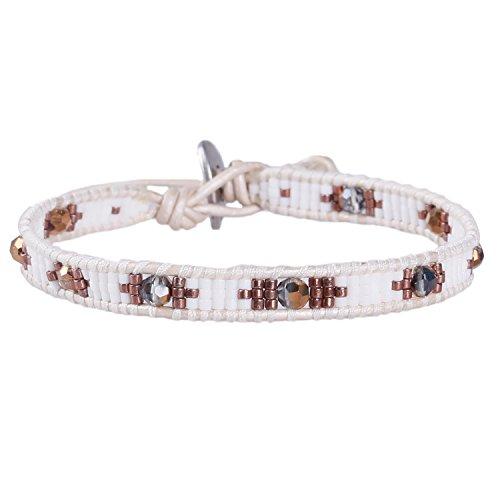 KELITCH Armband Kristall Rocailles Perlen Damen Manschetten Armbänder - Weiß - Armband Leder Und Perlen-wrap