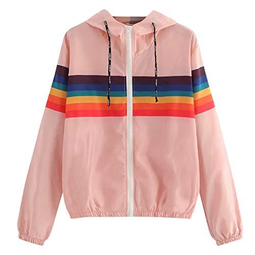 iHENGH Damen Frühling Herbst Bequem Mantel Lässig Mode Jacke Frauen Langarm Regenbogen Streifen Patchwork Sweatshirt Mit Kapuze Mantel Bluse -