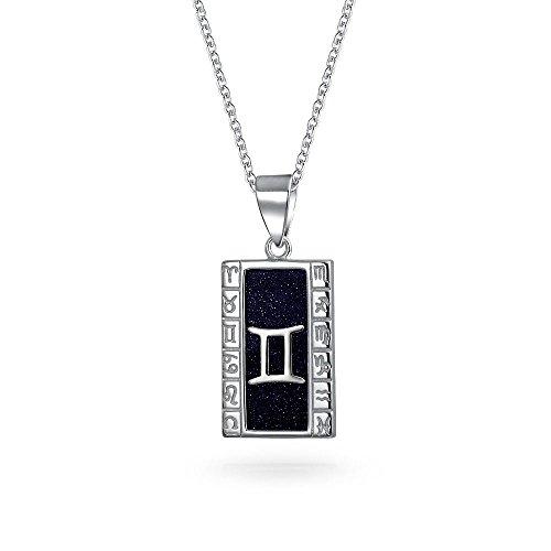 Bling Jewelry Azul Goldstone Géminis Zodíaco Colgante Collar de Plata esterlina de 18 Pulgadas