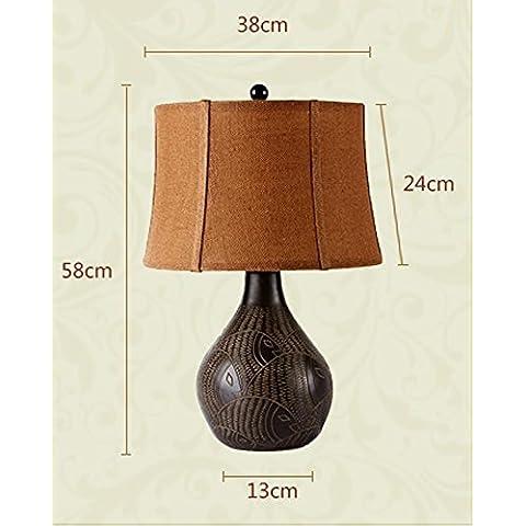 KHSKX Arte vintage lampade, lampada da tavolo di lusso scultura decorativa, lampada da tavolo in resina pulsante , l