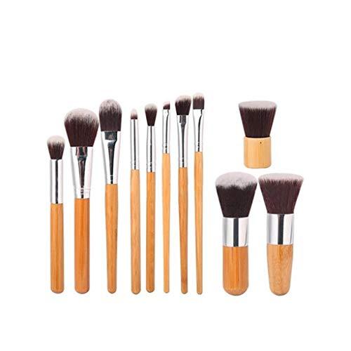 Ensemble de pinceaux de maquillage de 11 pièces-Manche professionnel en bambou Ensemble de pinceau de maquillage mixte avec fond de teint mixte