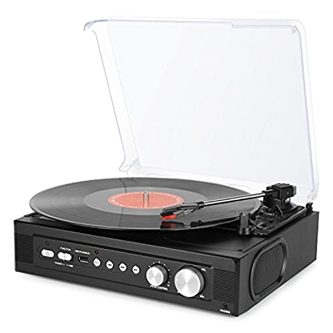 1byone Riemengetriebener 3-Gang Mini-Plattenspieler mit eingebauten Lautsprechern, Plattenspieler Vinyl zu
