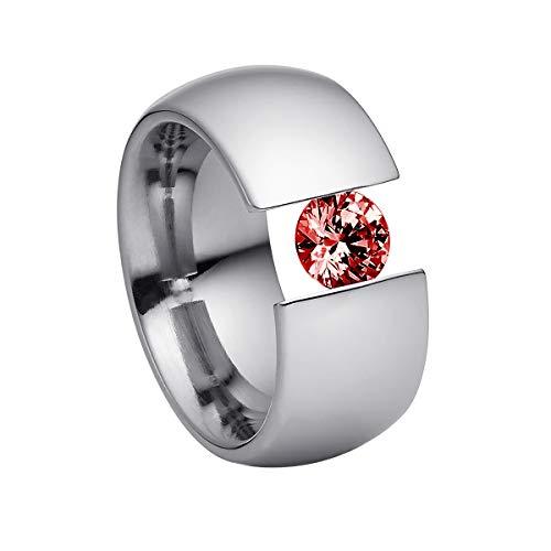 Heideman Ring Damen Elegantia XL aus Edelstahl Silber farbend poliert Damenring für Frauen mit Swarovski Stein Zirkonia rot im Brillant Schliff 7mm