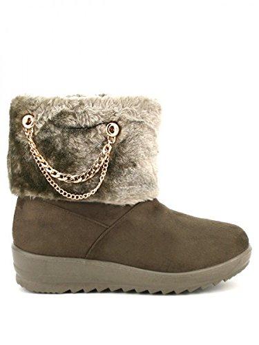 Cendriyon, Boots revers fourrure ELODINE Chaussures Femme Marron