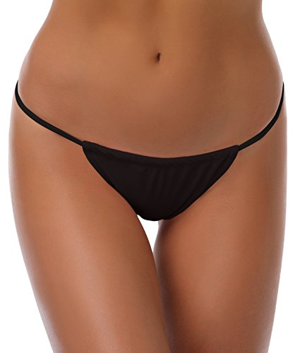 SHEKINI Damen Mini Tanga Bikinihose Micro String Bikinislip Unterhose Beweglich Band Badeslip Brazilian Unterteil (Small, Schwarz)