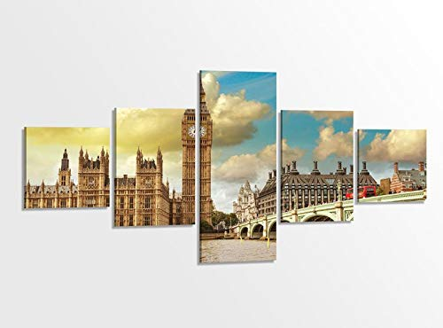Leinwandbild 5 tlg. 200cmx100cm London Skyline Bruecke Stadt Westminster Bridge Bilder Druck auf Leinwand Bild Kunstdruck mehrteilig Holz gerahmt 9AB347