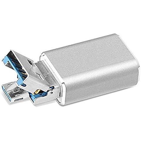 Lector de tarjetas Micro USB OTG, Adaptador GMYLE Micro SD(TF) 2 en 1 de USB-A y Micro USB Unidad USB de extensión de la memoria de almacenamiento externo para dispositivo Android (Gris espacial)
