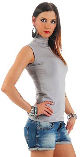 BALI Lingerie - Damen Ärmellos Shirt Rollkragen T-Shirt Top - S M L XL (S/M, Grau)