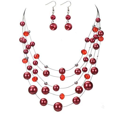 Jerollin Collana Statement da donna Girocollo Multi fili con Orecchini di Perle e Pietra Multi colori