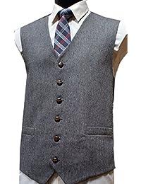 Gilet sans manche en tweed du Donegal, laine mélangée, Gris - Homme